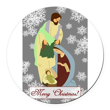 nativity2c.png Round Car Magnet