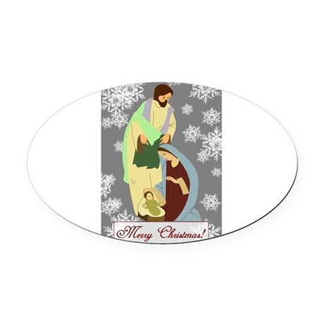 nativity2c.png Oval Car Magnet