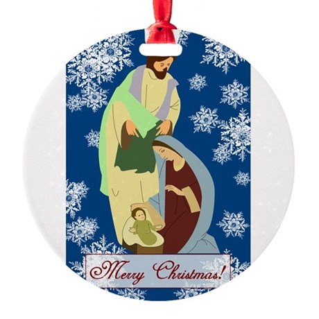 nativity2e.png Round Ornament