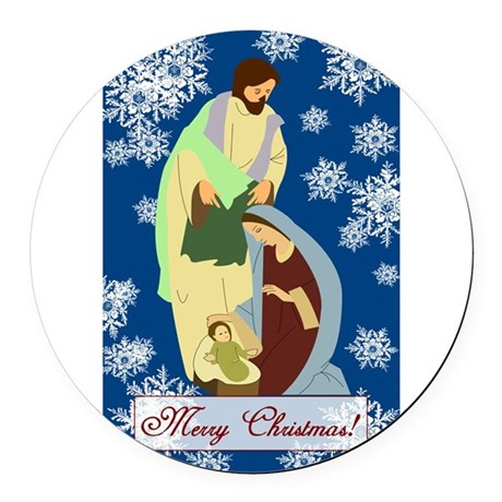 nativity2e.png Round Car Magnet