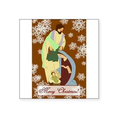 "nativity2f.png Square Sticker 3"" x 3"""