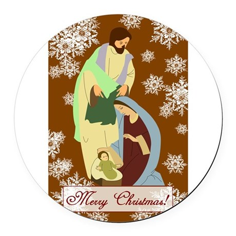 nativity2f.png Round Car Magnet
