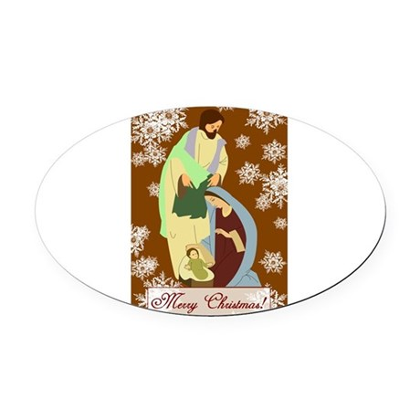 nativity2f.png Oval Car Magnet