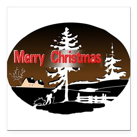 countrysnow2a.png Square Car Magnet 3&quot; x 3&quot;