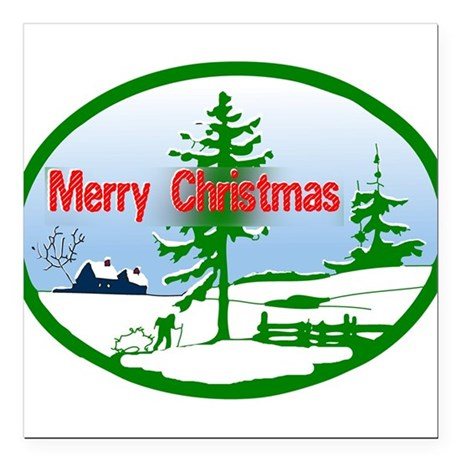"countrysnow2b.png Square Car Magnet 3"" x 3"""
