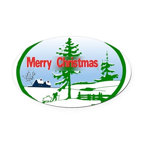 countrysnow2b.png Oval Car Magnet