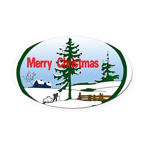 countrysnow2.png Oval Car Magnet