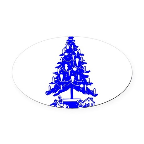 Christmas_Tree2c.png Oval Car Magnet