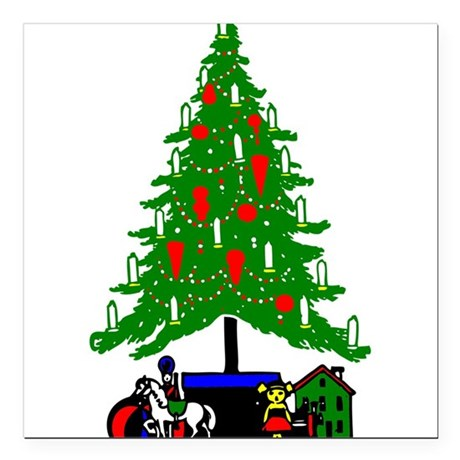 Christmas_Tree2a.png Square Car Magnet 3&quot; x 3&quot;