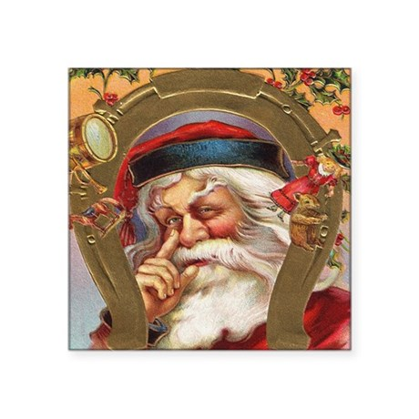 "santa3a.png Square Sticker 3"" x 3"""