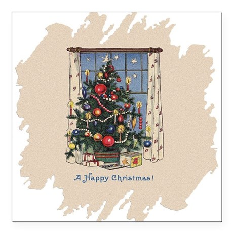 "Happy Christmas.png Square Car Magnet 3"" x 3"""