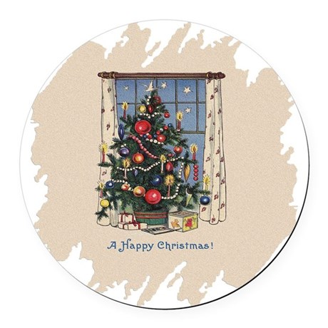 Happy Christmas.png Round Car Magnet