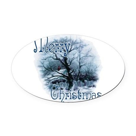 winterscene2c.png Oval Car Magnet