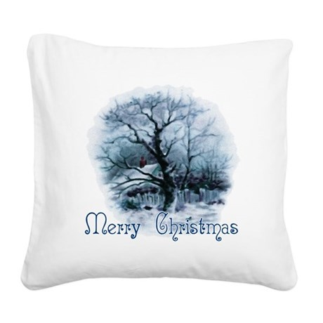winterscene2a.png Square Canvas Pillow