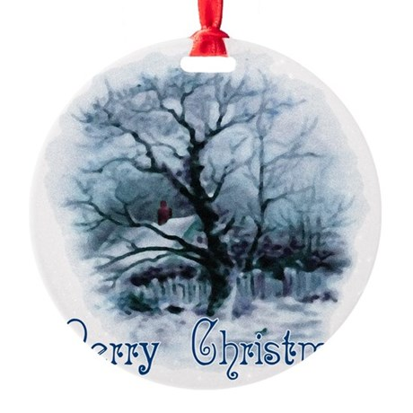 winterscene2a.png Round Ornament
