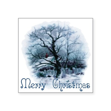 winterscene2a.png Square Sticker 3&quot; x 3&quot;
