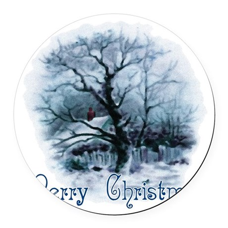 winterscene2a.png Round Car Magnet