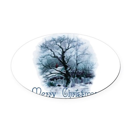 winterscene2a.png Oval Car Magnet