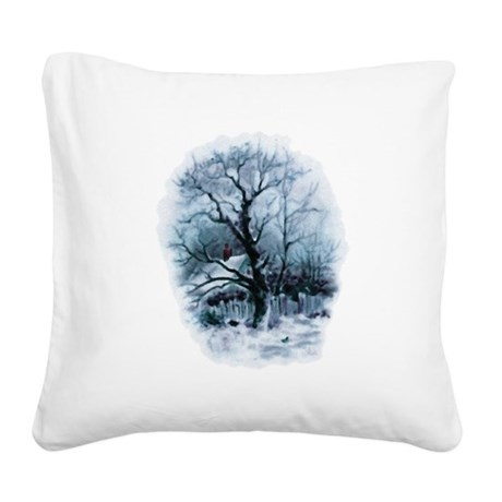 winterscene2.png Square Canvas Pillow