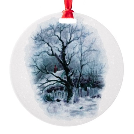 winterscene2.png Round Ornament