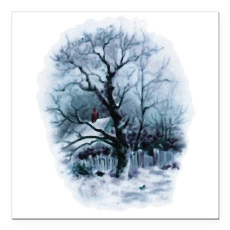 "winterscene2.png Square Car Magnet 3"" x 3"""