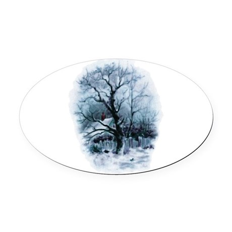 winterscene2.png Oval Car Magnet