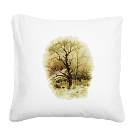winterscene.png Square Canvas Pillow