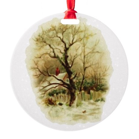 winterscene.png Round Ornament