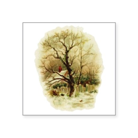 "winterscene.png Square Sticker 3"" x 3"""