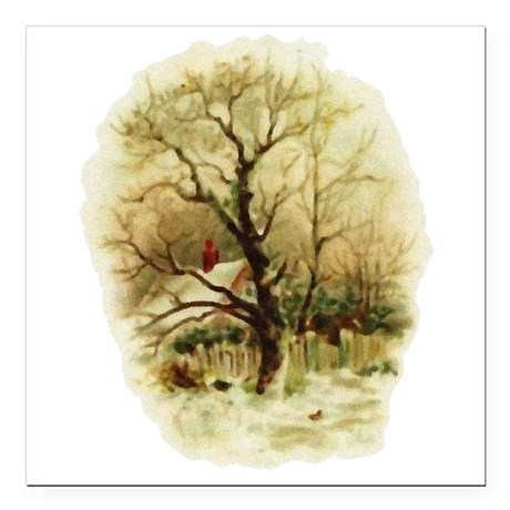 "winterscene.png Square Car Magnet 3"" x 3"""