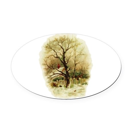 winterscene.png Oval Car Magnet