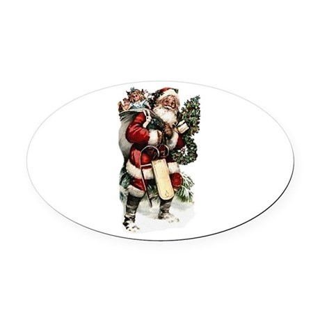 santa.png Oval Car Magnet