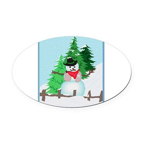 snow9.PNG Oval Car Magnet