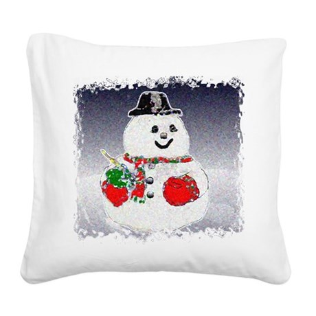 Snowman Square Canvas Pillow