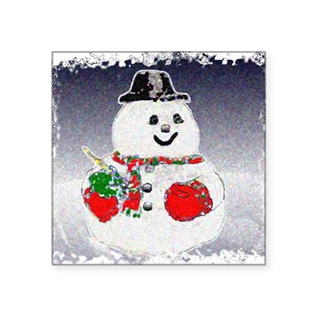 "Snowman Square Sticker 3"" x 3"""