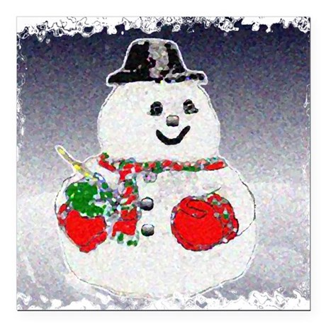 "Snowman Square Car Magnet 3"" x 3"""