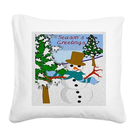 Seasons Greetings Square Canvas Pillow
