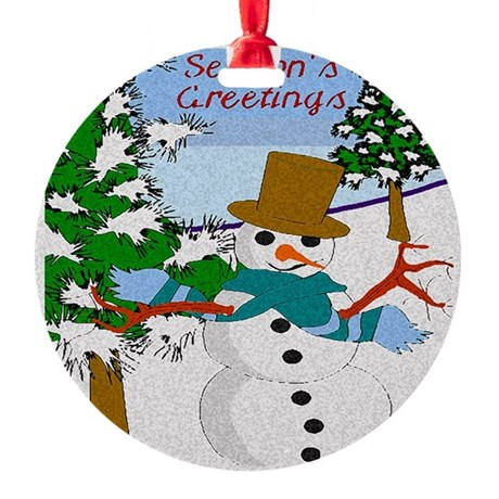 Seasons Greetings Round Ornament