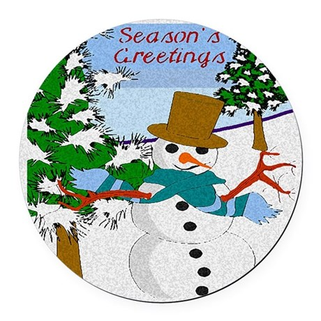 Seasons Greetings Round Car Magnet