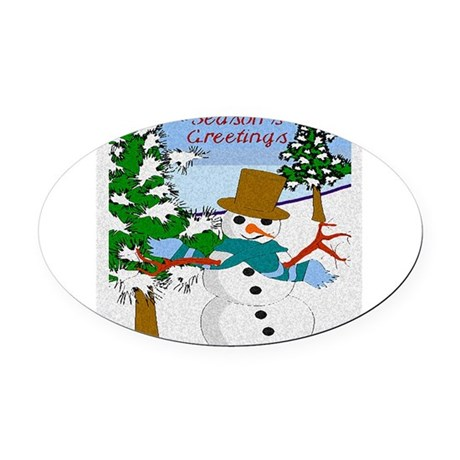Seasons Greetings Oval Car Magnet