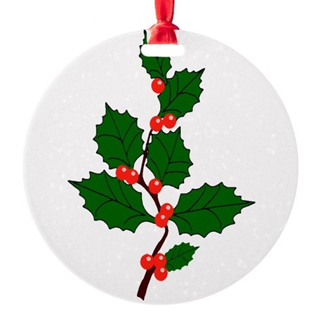 holly.png Round Ornament