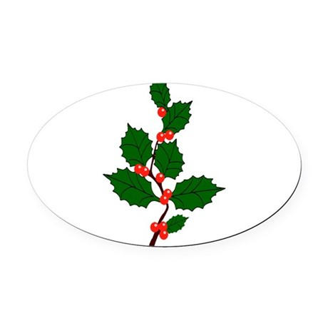 holly.png Oval Car Magnet