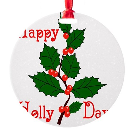 holly2.png Round Ornament