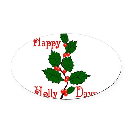 holly2.png Oval Car Magnet