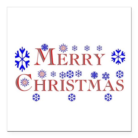 Merry Christmas Square Car Magnet 3&quot; x 3&quot;