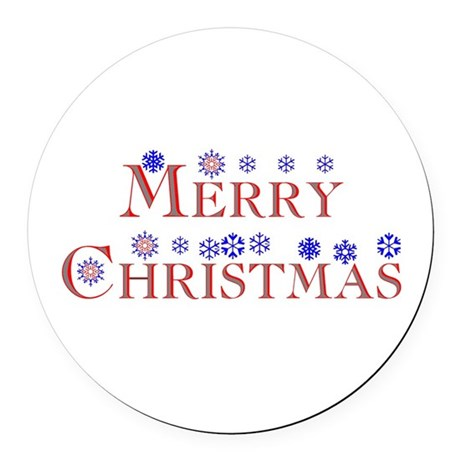 Merry Christmas Round Car Magnet