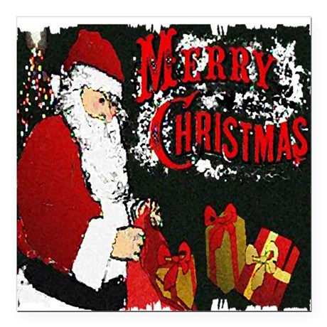 "Merry Christmas Square Car Magnet 3"" x 3"""