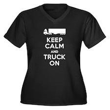 Keep Calm, Truck On Women's Plus Size V-Neck Dark