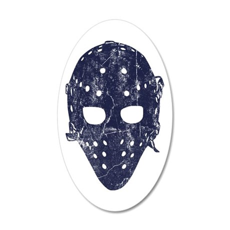 Vintage Hockey Goalie Mask (dark) 20x12 Oval Wall