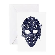 Vintage Hockey Goalie Mask (dark) Greeting Card